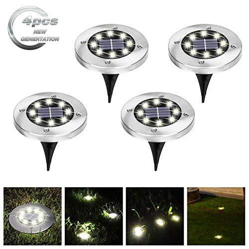 VIGLT Solar Ground Lights 8 LED Solar Disk Lights Garden Pathway Outdoor in-Ground Lights Waterproof