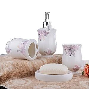 ceramic bathroom 4 pieces set supplies pink daisy bathroom accessories set stylish bath accessories beautiful home gifts - Beautiful Bathroom Accessories