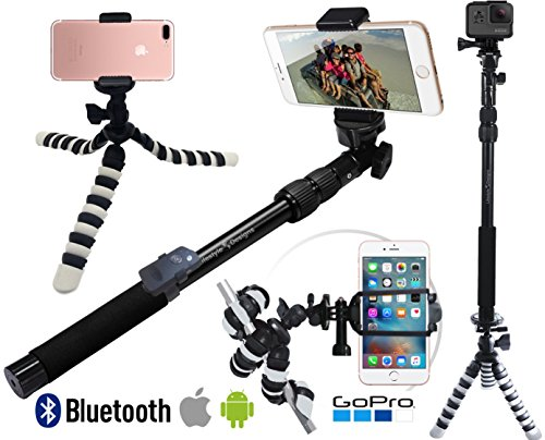 NEW Pro HD Selfie Stick w/ GorillaPod Flexible Tripod Stand - Best Gift Pack for New iPhone 7 & 6 Plus, GoPro Hero 5 or Digital Camera + Free Bluetooth Photo/Video Remote for iOS & Android