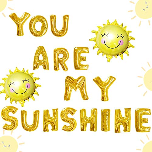 JeVenis 18 PCS You Are My Sunshine Balloons Sun Balloons You Are My Sunshine Banner You Are My Sunshine Birthday Decoration for Baby Shower Kid's Birthday Party Decorations ()