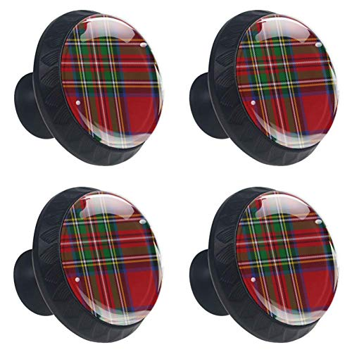 (Anmarco Plaid and Tartan Drawer Knobs Pull Handles 30MM 4 Pcs Glass Cabinet Drawer Pulls for Home Kitchen Cupboard)