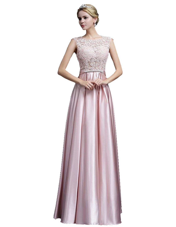 Beauty-Emily Abendkleider Damen ärmellos Lang Spitze mit Rückenfrei ...