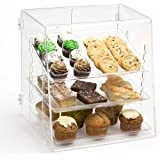 """Clear Acrylic Pastry Case with 3 Removable Trays, Rear Door - 15.75""""w x 16.875""""h x 14.75""""d"""