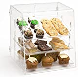 Clear Acrylic Pastry Case with 3 Removable Trays, Rear Door - 15.75