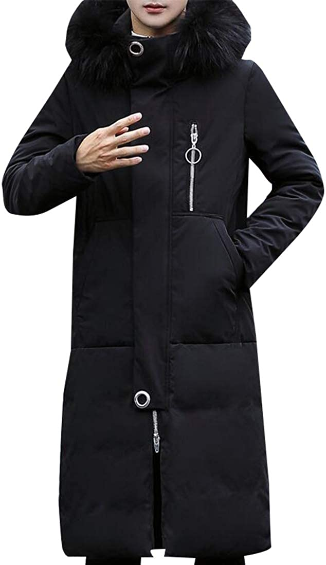 Miracle Mens Fashion Hooded Jacket Slim Fit Casual Jacket Long Maxi Down Coats Outwear