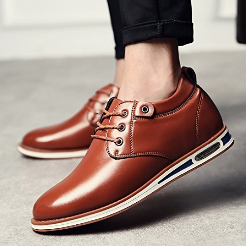 Meeshine Mens Modern Läder Spets-up Platta Oxford Sneakers Finskor Brun