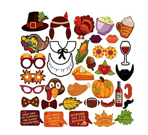 (Thanksgiving Photo Booth Props 36 DTY Kits Thanksgiving Day Decorations,Happy Thanksgiving Party)