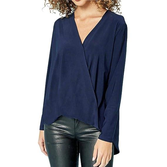 Camiseta Blusa para Mujer, BBestseller Camisas Mujeres Ocasionales Manga Larga Boton De La Gasa Cuello