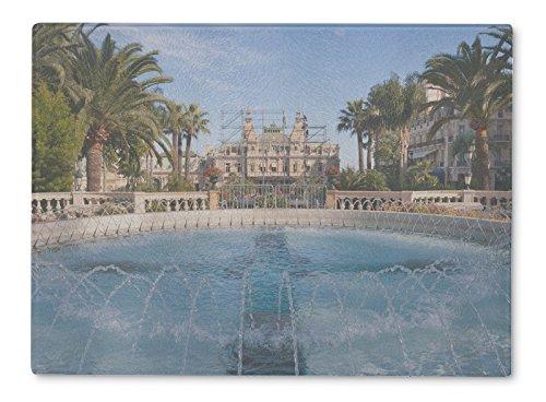 Gear New Glass Cutting Board and Serving Dish, Fountain Of Monte Carlo Monaco, also makes great accent decor piece, 11x8, (Monaco Fountain)