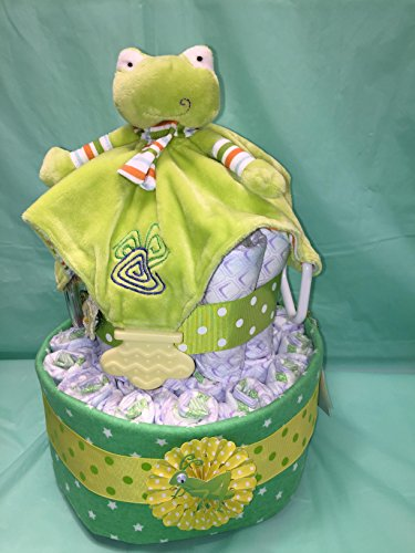 Frog Snuggle Diaper Cake! Two Tier, Gender Neutral with White Stars ON Green Blanket!