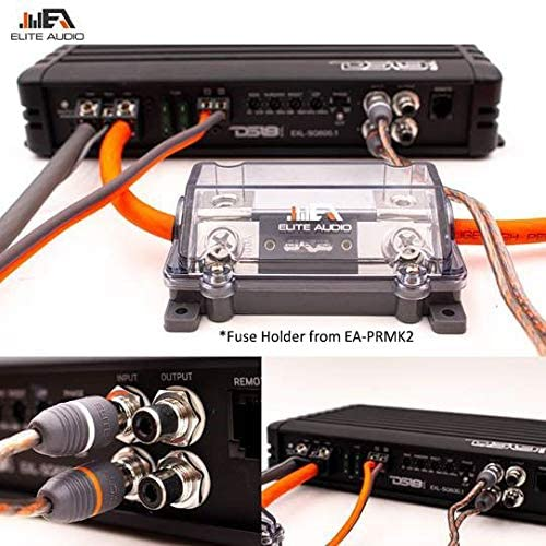 Elite Audio 4 Gauge CCA Premium Amp Kit - EA-PRMK4 Complete Amplifier Installation Wiring Kit with 20 feet 4 AWG + 2-Channel RCA Interconnects 2000W 51dtxC5qSoL