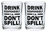 Funny Shot Glasses for College Drink Responsibly Don't Spill Drinking Games Shot Glass Gift Shot Glasses 2-Pack Round Shot Glass Set Black