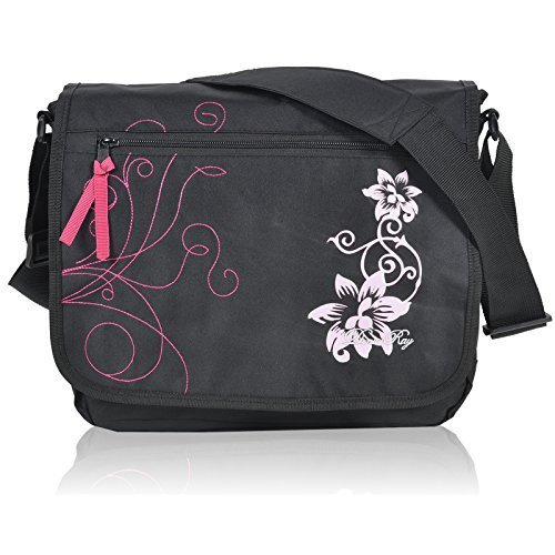 Daniel Ray Umhängetasche DIN A4 Messenger Bag - Hibiskus Flowers Farbauswahl (Hibiskus - Schwarz Pink)
