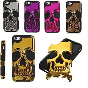 Skull Combo Hard Soft Skeleton Bone Silicone Case For iPhone 5C --- Color:Bronze