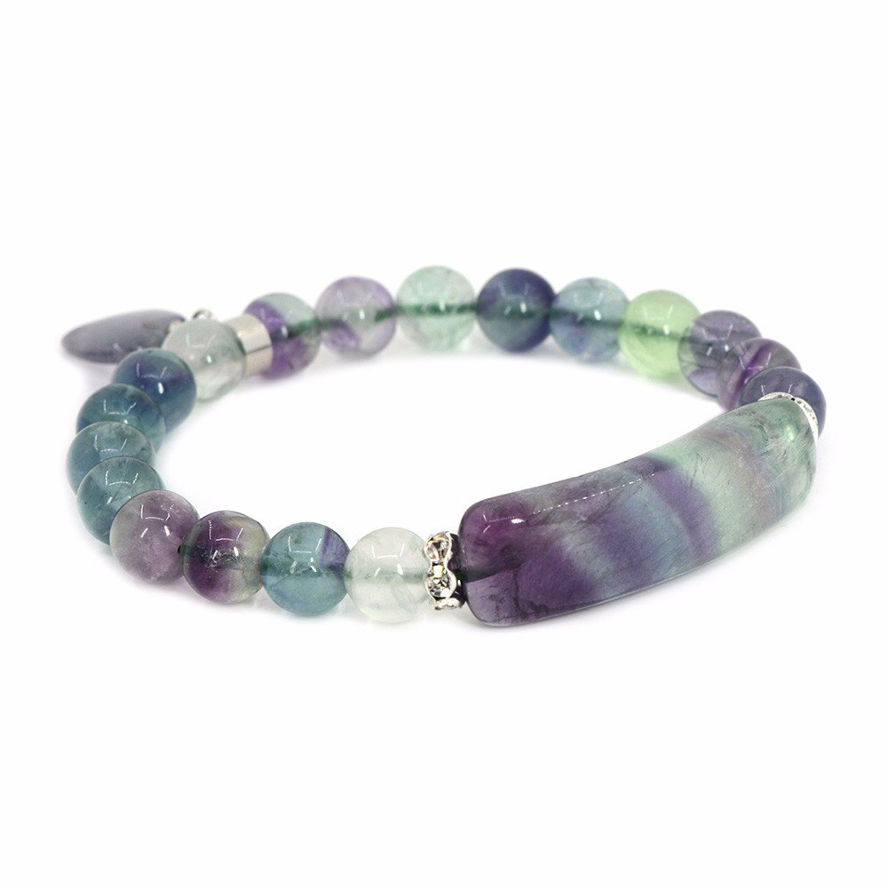 Natural Fluorite Gem Semi Precious Gemstone Love Heart Charm Stretch Bracelet
