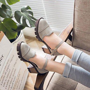 Gris Beige Vestido Oficina Semicuero Sandalias gray Informal LvYuan Negro Robusto Trabajo Confort y Mujer Tacón 7qHxwSB