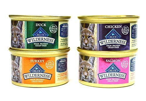 Blue Buffalo Wilderness Grain-Free Variety Pack Cat Food - 4 Flavors (Salmon, Duck, Turkey, and Chicken) - 12 (3 Ounce) Cans - 3 of Each Flavor (Best Feline Friend Recall)