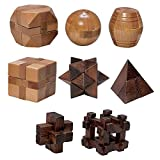 Bits and Pieces - Set of 8 Mini Wooden Brainteaser Puzzles - Brain