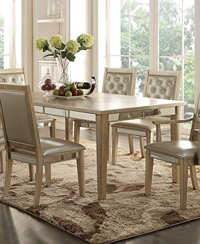 ACME Furniture 61000 Voeville Dining Table, Antique Silver