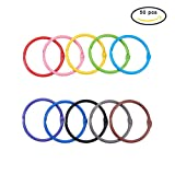 #5: PandaHall Elite 50 Pieces 10 Color Book Rings Loose Leaf Binder Ring Key Chain Key Rings (1.77