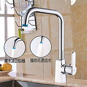 LOSTRYY Brass single handle single hole kitchen faucet hot and cold sink faucet sink basin dual-use,A durable service