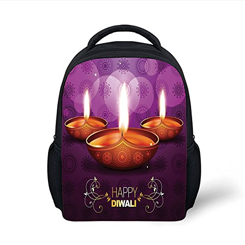 iPrint Kids School Backpack Diwali,Ethnic Tribal Celebration Religious Candle Burning Image and Paisley Backdrop Print Decorative,Multicolor Plain Bookbag Travel Daypack by iPrint