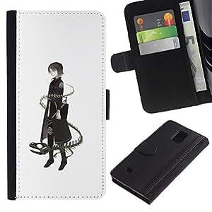 Billetera de Cuero Caso Titular de la tarjeta Carcasa Funda para Samsung Galaxy Note 4 SM-N910 / Lady Dragon Snake Deep Meaning / STRONG