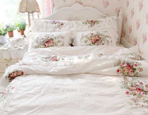 FADFAY Home Textile,New European Vintage Floral Rose Bedding Set,Shabby Floral Country Style Bedding Set,White Lace Ruffle Bedding Sets