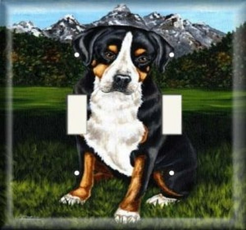 Double Light Switchplate Cover - Dog In The Mountains
