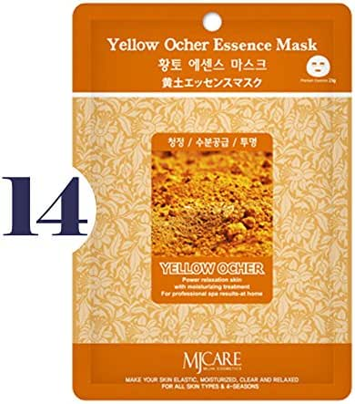 Pack of 14, The Elixir Beauty MJ Korean Cosmetic Full Face Collagen Yellow Ocher Essence Mask Pack Sheet for Vitality, Clarity, Mosturizing, Relaxing