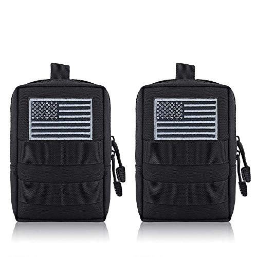 FUNANASUN MOLLE Pouches - 2 Pack Tactical Compact Pack Water-Resistant Utility EDC Pouch Small Black with US Flag Patch(Black)