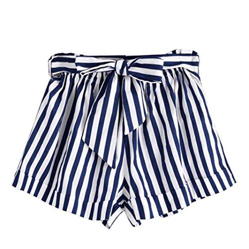 (Realdo Women's Striped Pants,Belt Hot Pants Lady Summer Beach Shorts Trousers (Blue,M))