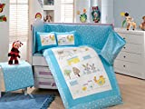 Gold Case Zoo - Licenced Baby Deluxe Duvet Cover Set - 100% Cotton - 4 pieces (Blue) - Made in Turkey