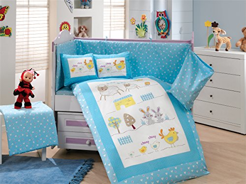 Gold Case Zoo - Licenced Baby Deluxe Duvet Cover Set - 100% Cotton - 4 pieces (Blue) - Made in Turkey by Gold Case
