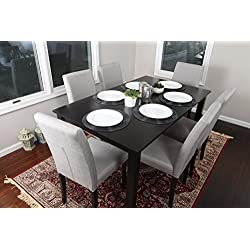 7 pc Linen 6 Person Table and Chairs Brown Dining Dinette - 150255 Grey Parson Chair