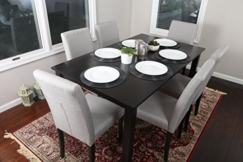 7 pc Linen 6 Person Table and Chairs Brown Dining Dinette -