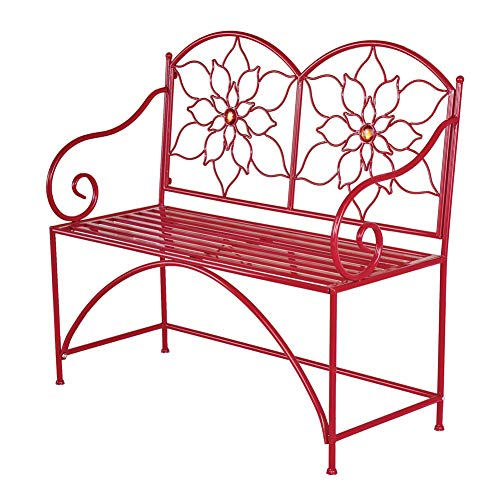 Collections Etc Jeweled Poinsettia Outdoor Garden Bench - Festive Metal Outdoor Furniture