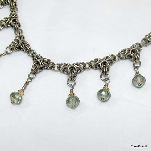 Necklace, Byzantine Triplet Chainmaille Necklace with Swarovski Amber and Pale Green Crystals