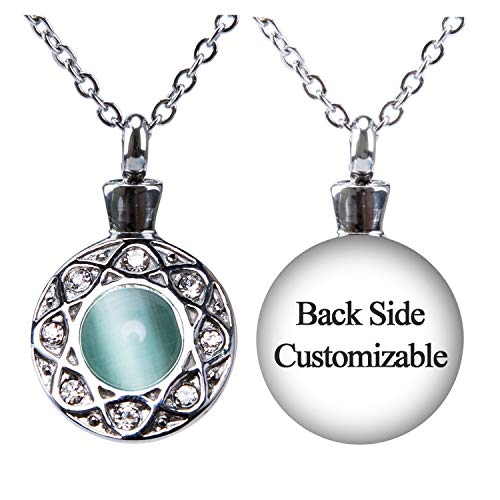 Fanery Sue Personalized Custom Cremation Urn Necklace for Ashes Memorial Stainless Steel Pendant W/Cat Eye Stone (Green Engraving)