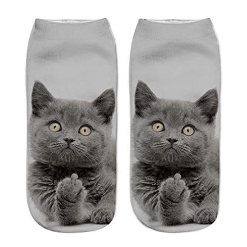 HS Women Girls Cute Cat Print Socks Sports Stocking Footwear No Show Ankle Socks (G)