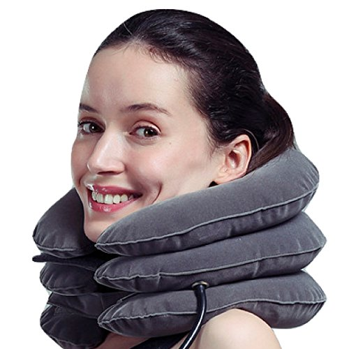 MEDIZED Inflatable Cervical Neck Shoulder Traction Device Improve Spine Alignment Reduce Neck Pain Cervical Collar Adjustable Pillow Stretcher Home Traction (Grey) by MEDIZED