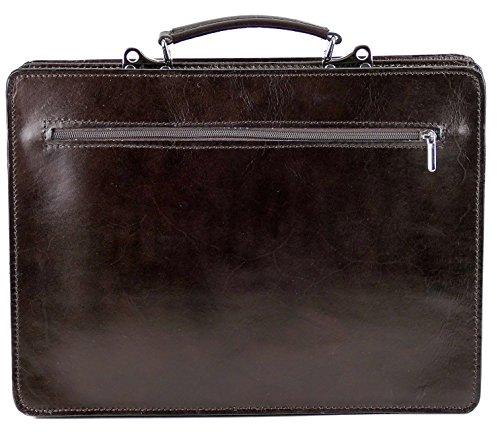 College Leder Tasche Aktentasche Lehrertasche Schultasche Vintage Dunkelbraun