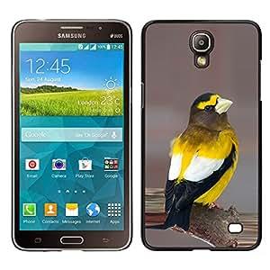 Songbird amarillo Hermosa Naturaleza Plumas- Metal de aluminio y de plástico duro Caja del teléfono - Negro - Samsung Galaxy Mega 2