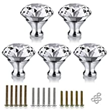 BTSKY® 40mm Clear Glass Crystal Cabinet Knob Cupboard Drawer Pull Handle, Come with 3 kinds of Screws (5 PCS)