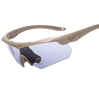 690948efba7d Polarized Designer Tactical Military Sunglasses Goggles 5 Set  Interchangeable Lenses (Khaki, Gray)
