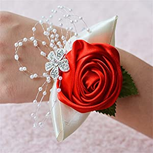 Wedding Bridal Wrist Corsage Bridesmaid Wrist Flower Corsage Flowers for Wedding (Red) 35