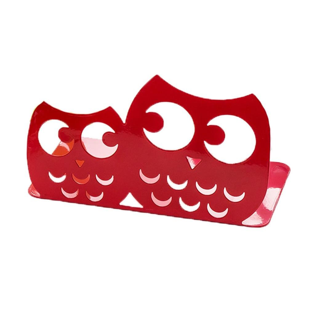 LiPing Owl Series Heavy Metal Durable Universal Business Bookends Decorative Gift for Bookshelf Office School Library and Home (Red)