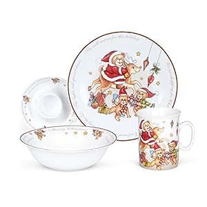 Hoomeet Porcelain Dinnerware Set 4-Piece Christmas Bear Tableware Set Ceramic  sc 1 st  Amazon.com & Amazon.com   Hoomeet Porcelain Dinnerware Set 4-Piece Christmas ...