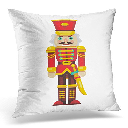 Cover Red Ballet Nutcracker with Sword Flat Style Cartoon Decorative Pillow Case Home Decor Square 20x20 Inches Pillowcase ()