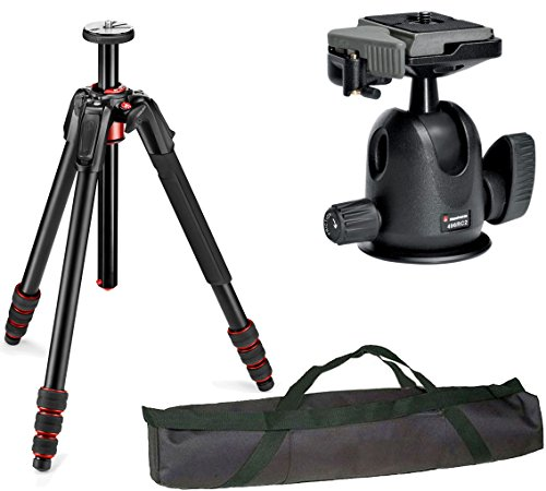Manfrotto 190 Go! Aluminum 4 Section Tripod Kit with 496RC2 Ball Head and a Vidpro 35'' Padded Case by Manfrotto